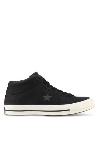 Converse black One Star Mid Sneakers CO302SH0SW71MY_1