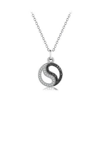 Glamorousky black 925 Sterling Silver Fashion Simple Black and White Tai Chi Eight Trigrams Pendant with Cubic Zirconia and Necklace 737AFACF440F4DGS_1