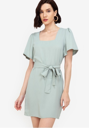 ZALORA WORK green Square Neck Puff Sleeves Dress 319A4AA76BA6F1GS_1