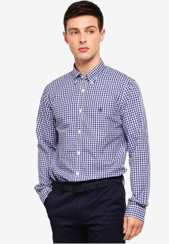 Brooks Brothers navy Red Fleece Gingham Cotton Broadcloth Sport Shirt 0121BAA416B86FGS_1