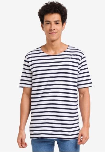 MANGO Man blue Striped Cotton T-Shirt 19EB5AA6789F49GS_1