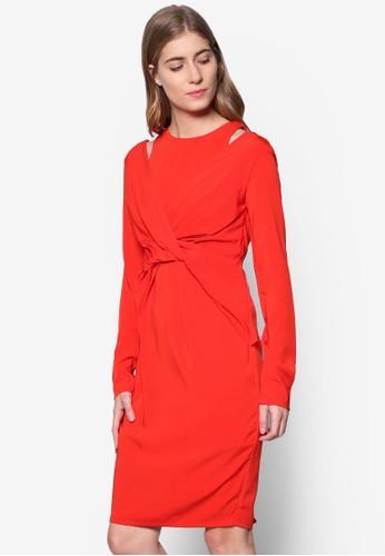 Tiff 前扭結挖肩長袖esprit衣服目錄洋裝, 服飾, 服飾