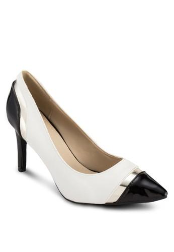 Rinzalora taiwan 時尚購物網鞋子a 撞色拼接尖頭高跟鞋, 女鞋, 厚底高跟鞋