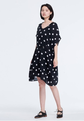 fe9dff85ad so that s me black Bubble V Neck Drawstring Relaxed Summer Dress Black with white  dots D072BAA72919E9GS 1