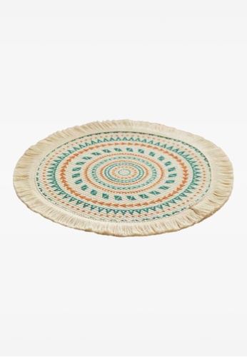 Ayra Home & Living beige Geometric Woven Fringed Table Placemat Coaster AF1BCHL3B22D8AGS_1