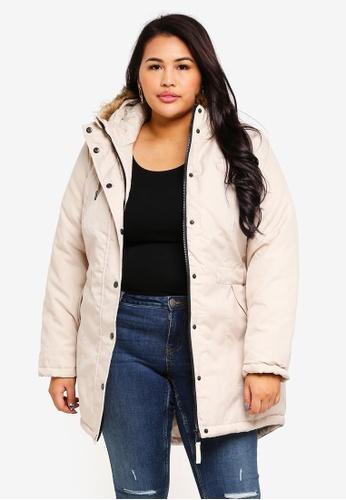 Junarose beige Plus Size Parka Jacket CE2E9AA2542539GS_1