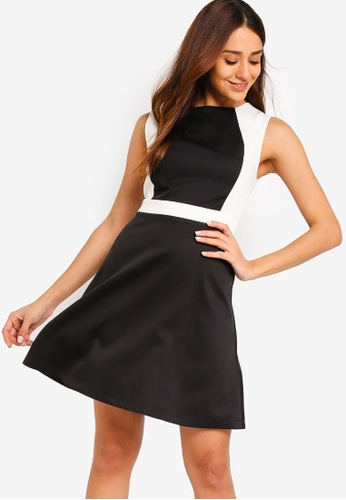 ZALORA black and multi Colorblock A-Line Dress 19B1DAAD6CBCDFGS_1