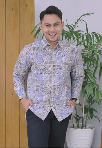 Batik Talenta Exclusive white kemeja batik pria lengan panjang geometris batik BC474AAA845699GS_1