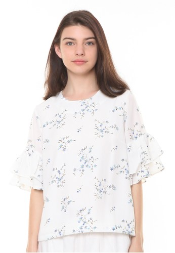 et cetera white Floral Printed Blouse With Ruffle Sleeve B5BF2AA9E82201GS_1