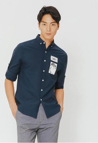 H:CONNECT navy Unqiue Portrait Shirt 3F9FFAACA71490GS_1
