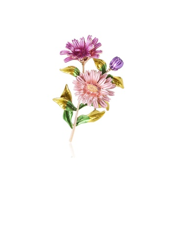 Glamorousky silver Fashion and Elegant Plated Gold Pink Purple Double Daisy Brooch 1ADF0AC60C77D3GS_1