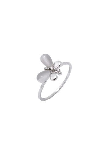 Jaysa Collection silver Snow Cat's Eye Butterfly Palladium Ring JA875AC0FNVWSG_1