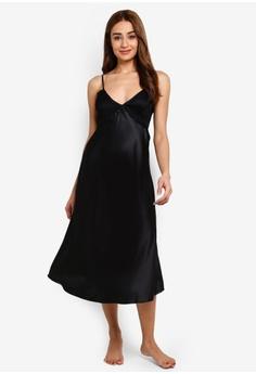 70ec1c3ec8cd5 Impression black Long Satin With Lace Nightdress F8ACDAAE5AC905GS_1