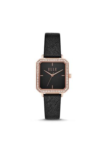 ELLE black ELLE Clichy Three-Hand Black Leather Watch ELL25025 BB005AC39FE88DGS_1