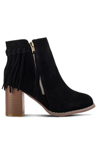 Sunnydaysweety black Tassel Ankle Boots SU527SH70ISJMY_1