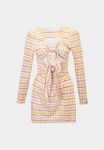 Pomelo yellow Gingham Front Knot Cut Out Dress - Yellow 16FB7AA5CFB876GS_1