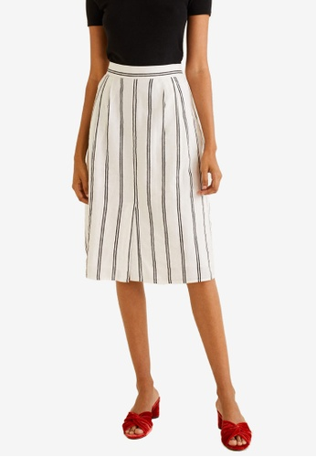 Mango white Striped Cotton Skirt AEE37AAF657419GS_1