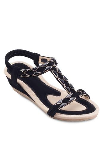 閃石彈性繞esprit tw踝楔形涼鞋, 女鞋, 鞋