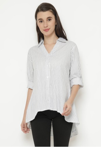 Mannequin white Stripe Flair Blouse 0CF17AAD5BFAFAGS_1