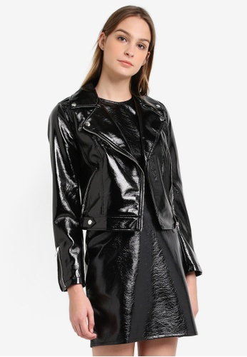 Miss Selfridge black Black Vinyl Biker Jacket MI665AA0RZHAMY_1