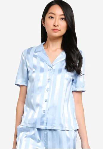 ZALORA BASICS blue Lounge Stripe Shirt 1D781AA8FAF8B2GS_1