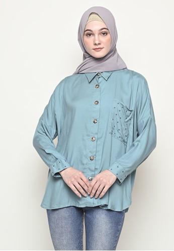 My Daily Hijab blue Anya Byeol Blouse Cerulian B2284AA9500540GS_1
