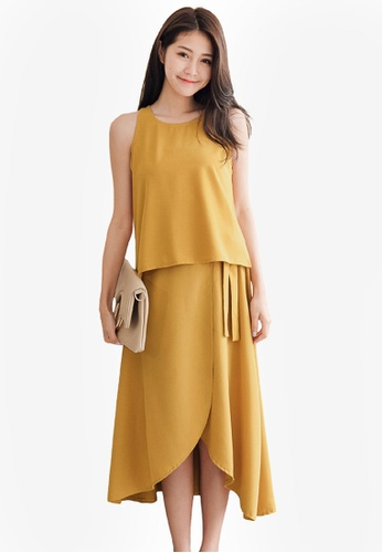 Tokichoi yellow Chiffon Two Piece Top with Skirt A7F95AA61F5C11GS_1