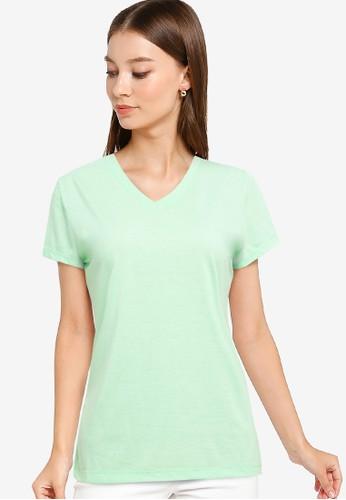Tolliver green V Neck Basic Short Sleeve Tee DEEEBAAD44F767GS_1