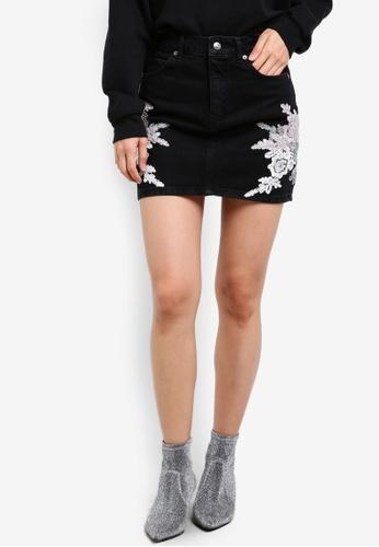 TOPSHOP black Moto Lace Applique Denim Skirt TO099AA0KCH1PH_1
