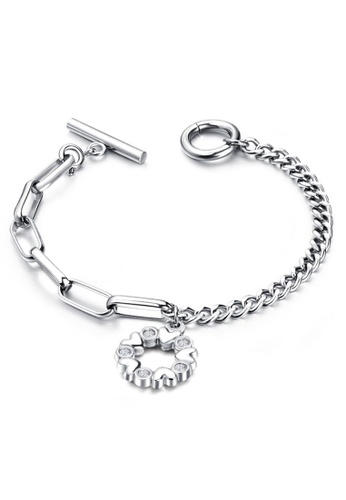 YOUNIQ silver YOUNIQ FLORY Silver Rosegold Titanium Steel Chain Bracelet with Flower Dangle 8DF9AAC03794AEGS_1