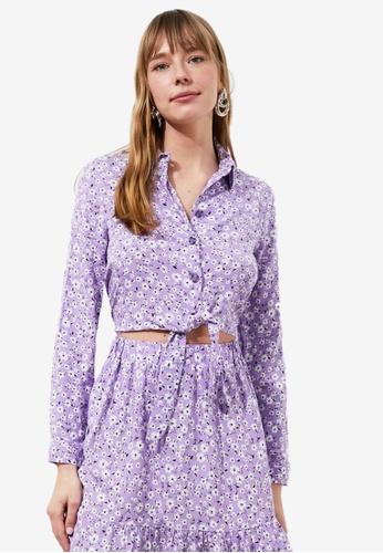 Trendyol purple Printed Tie Waist Detail Blouse 685ACAAA18D518GS_1