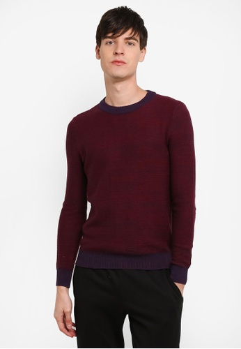 Topman red Textured Jumper TO413AA0RXUBMY_1