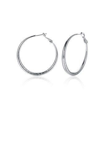 Glamorousky silver Simple and Fashion Geometric Round Earrings 055BAACB84438BGS_1