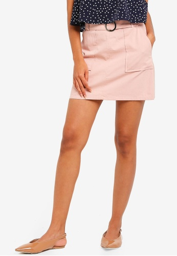 ZALORA BASICS beige Basic Belted Mini Skirt D2DB3AA3178BD6GS_1