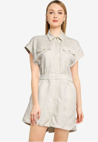 Forever New beige Eleanor Utility Playsuit 6609BAA7DC35A3GS_1