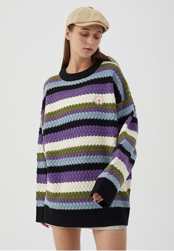 Twenty Eight Shoes Loose Contrast Stripe Knit Sweater HH0524 6D91DAA8BDD4D6GS_1
