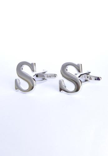 Splice Cufflinks silver Monogram Alphabet Rhodium Plated Cufflinks - S SP744AC11PROSG_1