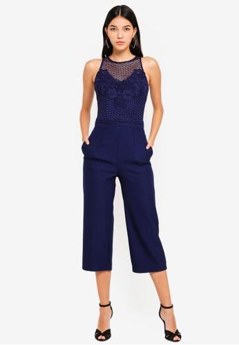 Little Mistress navy Crochet Jumpsuit 6BC57AA95AAE41GS_1