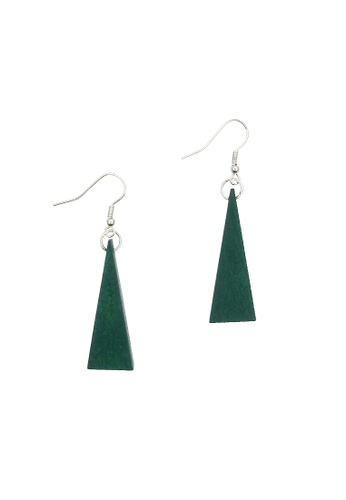 LUCCACAL green Triangle Wooden Earrings C5E63AC66F1242GS_1