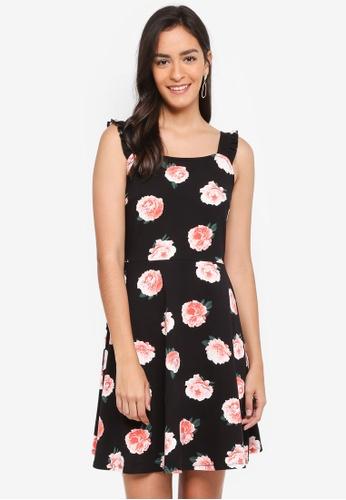 Dorothy Perkins 黑色 Black Rose Ruffle Sundress E7438AAF93FD11GS_1