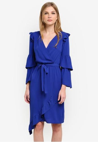 Miss Selfridge blue Blue Wrap Midi Dress MI665AA0S6FHMY_1
