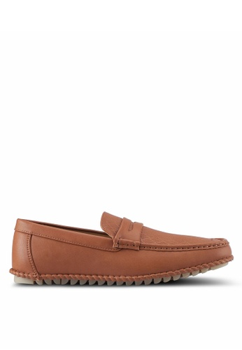 ZALORA brown Faux Leather Perforated Classic Loafers ED036SH1E3438CGS_1