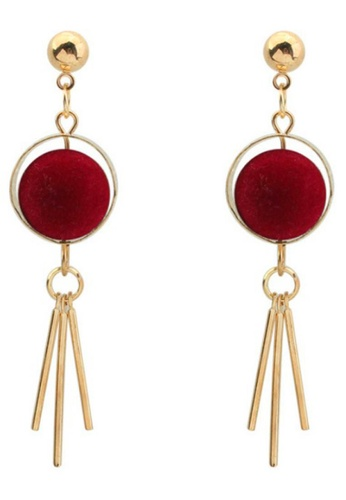 LOVENGIFTS red and gold Velvet Pom Pom Surround Metal Tassels Drop Earrings (Maroon) 1743FAC516AC7EGS_1