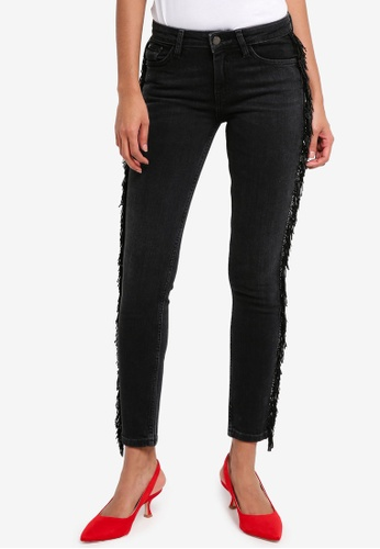 Mango grey Fringed Skinny Jeans 34372AAA133883GS_1