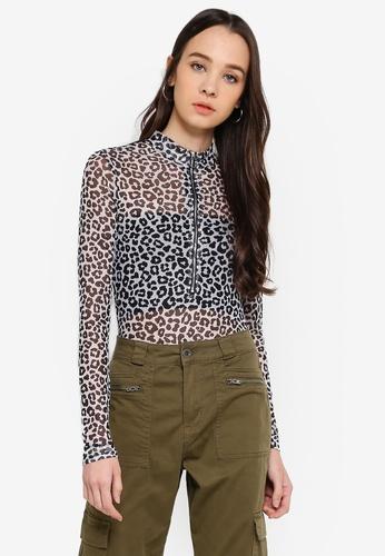 b87369859e Buy Cotton On A Mesh Long Sleeve Zipper Bodysuit Online on ZALORA ...