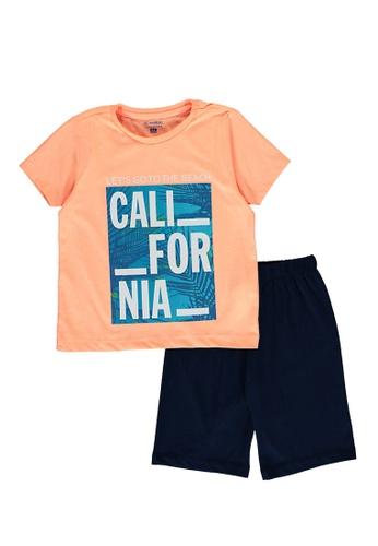 LC Waikiki orange and navy Daylight Pyjamas Set 9E42CKA8923B8BGS_1