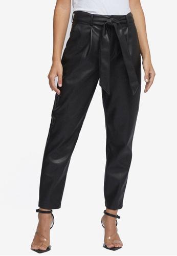 Dorothy Perkins black Petite Black Pu Belted Trousers 78D9AAA8C0AA89GS_1
