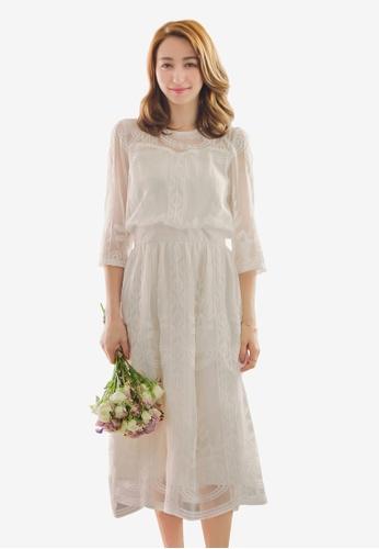 YOCO white Lace Detail Lined Maxi Dress A6A93AAB4D0156GS_1