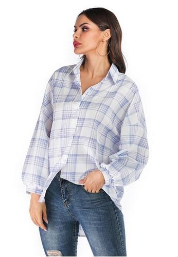 Twenty Eight Shoes white VANSA Check Print Long Sleeve Shirts  VCW-Sh6140 E7633AA352DB47GS_1
