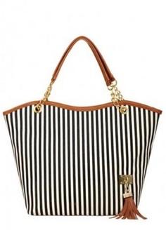 Trendy Canvas Striped Tote Bag -Black
